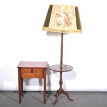 Reproduction mahogany standard lamp / table, and a side table