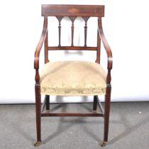 Victorian inlaid mahogany elbow chair.