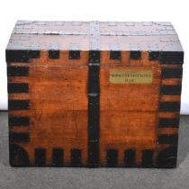 Victorian oak and metal banded trunk/ silver chest
