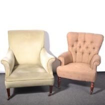 Two Victorian/ Edwardian easy chairs
