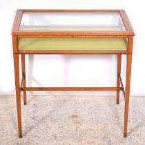 Edwardian pale mahogany table vitrine,