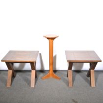 Pair of contemporary lamp tables and a jardinere stand