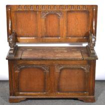 An oak monk's bench, 20th Century