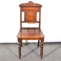 Victorian oak hall chair.