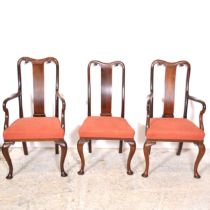 Set of six Victorian mahogany dining chairs, Queen Anne style