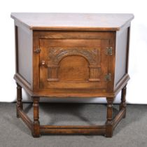 Small stained oak credence cupboard, and three reproduction oak occasional tables