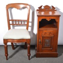 Late Victorian walnut bedside cupboard and a bedroom chair
