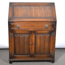 Reproduction oak cocktail cabinet, corner cupboard and blanket box and bureau,