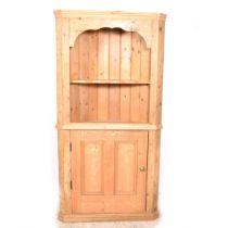 Pine freestanding corner cupboard,