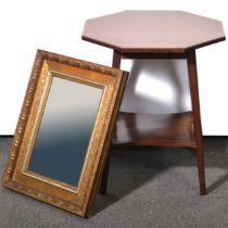 Edwardian mahogany occasional table and a gilt wall mirror