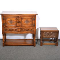Reproduction oak side cabinet and a similar sewing box