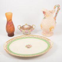 "Royal Albert ""Old Country Roses"" clock, Nipon lidded vase, Clarice Cliff harvest jug, meat plate."