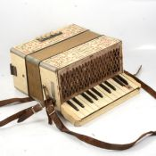 Hohner Student 1 piano accordion, a zither with case and tuning key, trumpet and trombone (in need