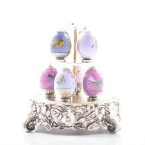 House of Faberge, Amethyst Garden Mini Eggs and stand
