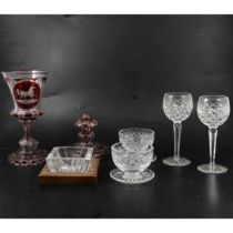 Table glass and other glassware, two boxes including Waterford