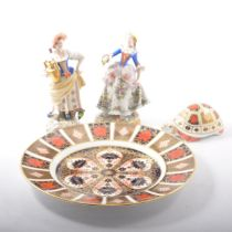 Royal Crown Derby Imari plate, tortoise paperweight and two continental figurines.