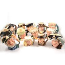 Thirteen Royal Doulton character jugs,
