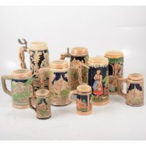 A collection of German pottery tankards,