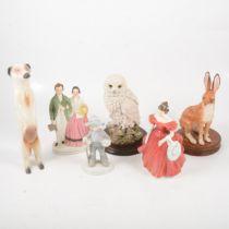 Decorative ceramics including Wedgwood plates, figures, etc.