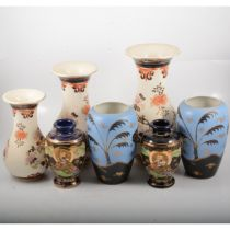 Pair of Satsuma vases, three modern Chinese vases and a pair of Staffordshire vases