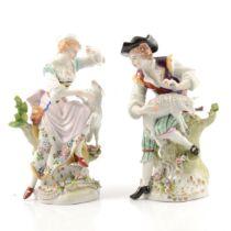 Pair of Sitzendorf figures, Shepherd & Shepherdess,