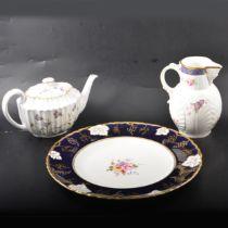 Spode Campanula tea service, Royal Crown Derby charger and a Spode mask jug.