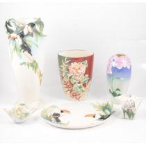 Franz porcelain Tucan vase, dish and four floral pieces.