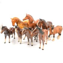 Sixteen Beswick and other horse models,
