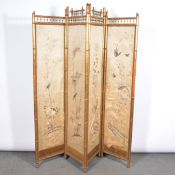 Victorian bamboo and simulated bamboo four-fold screen