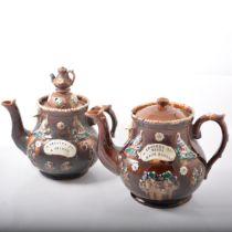 Five Measham Bargeware teapots and a milk jug.