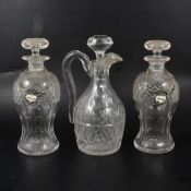 Pair of lead crystal decanters, jug and two flasks,