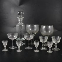 A collection of table glass, four boxes including a set of six large goblets