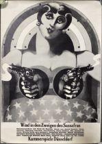 Heinz Edelmann, German theatre poster 'Wind in den Zweigen des Sassfras'