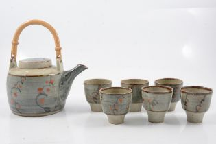 David Leach, a stoneware teapot and six tea bowls