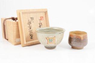 Shimaoka Tatsuzo, a stoneware teabowl; and another Korean teacup