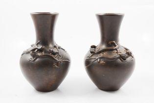 Pilkington's Royal Lancastrian, a near pair of vases with lizards
