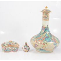 Chinese porcelain bottle vase with cover, a small box and a scent bottle,
