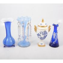 Mary Gregory style enamelled ewer, blue lustre, spill vase and a Coalport willow pattern vase