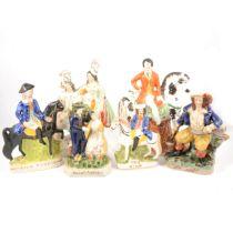 Six Staffordshire flatback figures, Victorian and modern,