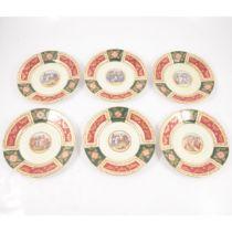 Set of six Vienna style porcelain cabinet plates,