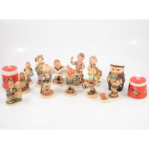 Collection of Hummel figures, two preserve pots by Goebel, etc.
