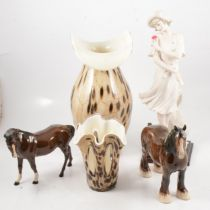 Guiseppe Armani figure, two Royal Doulton horses and two Murano style glass vases,