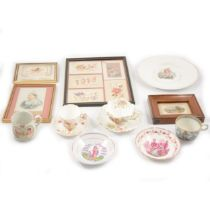 Six French and greetings embroidered postcards, commemorative ceramics, postcard of Victoria.