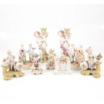 Two Meissen Marcolini type figural candlesticks, and other ornaments,