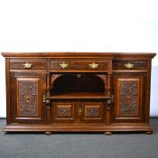 Victorian oak and walnut sideboard,
