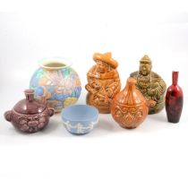 Royal Doulton 'Woodcut' flambe vase, Wedgwood jasperware bowl, Sadler decorative jars and Beswick