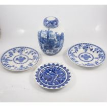 Three transferware plates and a ginger jar