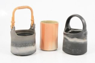 Byron Temple, two stoneware vessels and a salt-glazed vessel