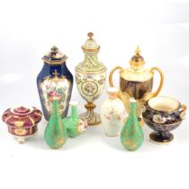 Quantity of decorative ceramic vases, including Crown Derby and Coalport
