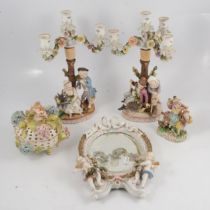 Pair of Continental porcelain figural candelabra, porcelain framed mirror, etc